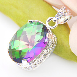 Wholesale Good Things - Luckyshine 6piece lot Christmas 925sterling silver special Good things cheap price Simple and generous Mystic Topaz crystal pendant p0076