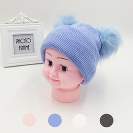 Wholesale winter earmuffs - Baby Knitted Hats Two Raccoon Fur Balls Caps For Baby Girls Boys Winter Children Earmuffs Hats Caps