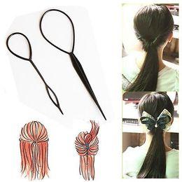 Wholesale Topsy Tool Hair Styles - Wholesale- 2pcs Plastic Magic Topsy Tail Clip Headwear Hair Tools Styling Casual Fashion Salon Accessory Twist Braid Ponytail Maker