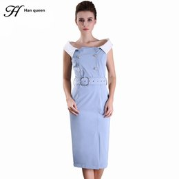 Wholesale casual dress double breasted women - H Han Queen Cut Out Dresses Women Work Casual Patchwork Double Breasted Bodycon Dress Slim Off The Shoulder Sheath Party Dress
