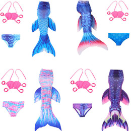 Wholesale Mermaid Suspenders - Summer Girls Mermaid Tail Swimsuits 3Pieces Tank Top Swim Bikini Cospaly Suspenders Swimwear Sets Beach Suits