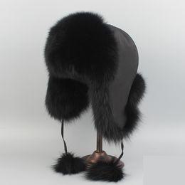 Wholesale Real White Fox Hat - 2017 Real Fox Fur Hat or Racccoon Fur Hat Winter Women Fur Cap Russian Free Shipping