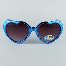 Wholesale Typical Heart Profile Kids UV400 Sunglasses Frame With Shining Mirror Electroplated Coating