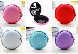 Wholesale Apple Storage - Portable Case for headphones case Mini Zippered Round Storage Hard Bag Headset box for Earphone Case SD TF Cards Earphone Bag free shipping