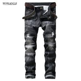 Wholesale Denim Jean S For Man - Wholesale- Brand Designer Mens Ripped Biker Jeans Fashion Distressed Moto Denim Joggers For Man Black Pleated Jean Trousers Strentch Pants