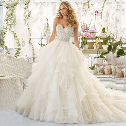 Wholesale Simple Winter Ball Dresses - New Arrival Ball Gown Wedding Dresses Sweetheart With Lace Beading Ruffles Zipper Organza Bridal Gown High Quality