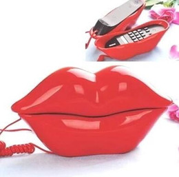 Wholesale Telephone Personality - Creative type lips have rope machine a fixed telephone mini lovely personality office telephone household telephone