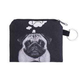 Wholesale 3d Printed Ring - Wholesale- dog bone Coin Purses Cute Girl Mini Bag Key Ring Case Zipper Wallet Lovely black dog 3d print Pouch Change Purse wholesaleCP4091