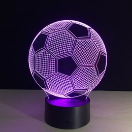 Wholesale Ball Light Table Lamp - Seven Colors Changing Soccer Ball Light Football 3D Visual Led Night Light USB Novelty Table Lamps as Home Decor Besides Lampara