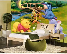 Wholesale Tigger Pooh Wall - Wholesale 3d Wall Custom Mural for Baby Kids Room 3d Photo Mural Medroom 3d Wall Cartoon Mural Fresco Winnie the Pooh and tigger