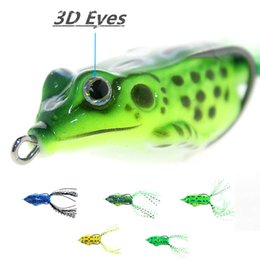 Wholesale Frog Baits - 5pcs 55mm 9G Insect Top Water Frog Fishing Lure Fishing Tackle Surface Floating Artificial Soft Lure Fake lure 3D Eyes frog bait