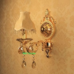Wholesale Jade Crystal Lamps - Balcony aisle light Vintage candle wall lamps zinc alloy jade crystal light fixture use E14 LED for foyer kitchen living room bedroom lamp