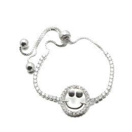 Wholesale Cheap Stones Beads - infinity Bracelets 925 Sterling Silver Bracelet With CZ Stone Silver Beads Personality Smiling Face Fashion Cheap Jewelry MB00171