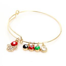 koreanisches goldhandarmband Rabatt Korean Erweiterbar Draht Armreif mit der Hand von Fatima Rot Schwarz Grün Evil Eye Charme Stretch Armbänder Für Frauenladies Mode Handwerk Schmuck