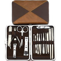 Wholesale Scissors For Nail Art - 16Pc Nail Art Tool Manicure Kit Pedicure Set Nail Clipper Trimmer Scissor With Case For A Gift