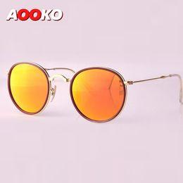 Wholesale Designer Folding Sunglasses - AOOKO Hot Newest Brand Designer Round Folding Retro Sunglasses Men Women UV400 Protection Gold Frame Pink Sunglasses