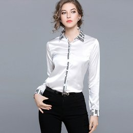 Wholesale Fit Personality - Personality Printing Casual Shirt Elegant Work Dress Blouse Long Sleeve Back Printed Slim Fit Ladies Clothing Top