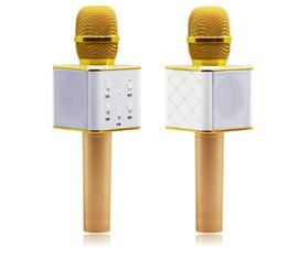 Wholesale Microfone Usb - Professional Karaoke Recording Microphones Q7 Bluetooth Wireless Karaoke Condenser USB Mic Microfone For Mobile Podcast KTV Livestream