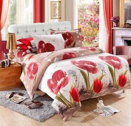 Wholesale Bedding Sets 3d Tulips - 3D Flower Bedding Sets 1Pcs Duvet Cover,Flat Sheet 2Pcs Pillowcase Full Queen King Bedding Set Beauty Tulip Duvet Cover Set E