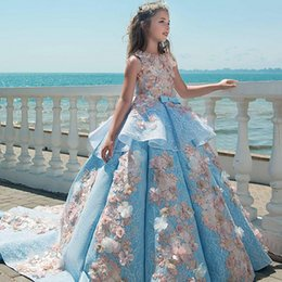 Wholesale Luxury Flower Girls Dresses - Luxury Blue Lace Girls Pageant Dresses Jewel Neck Appliques Floor Length Flower Girls Dresses Birthday Holiday Wedding Party Dresses