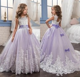 Wholesale Beautiful Flower Girls - 2017 Beautiful Purple and White Flower Girls Dresses Beaded Lace Appliqued Bows Pageant Gowns for Kids Wedding Party Dresses For Girls