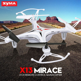 Wholesale Usb Rc Helicopter - Syma X13 4 Channel 6-Axis RC Helicopter Mini Quadcopter Drone Throwing Flight Headless without Camera USB Charging UFO Black,Red