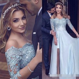 Wholesale Three Quarter Sleeve Evening Gowns - Hi-Lo Green Bateau Prom Prom Dresses Three Quarter Sleeve Satin Beads Lace Appliques Split Slit 2017 Evening Gowns Pageant Dress Cheap