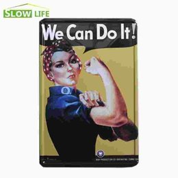 """Wholesale Vintage Tin Cans - We Can Do It Woman In World War 2 Vintage Home Decor Tin Sign 8""""x12"""" Retro Bar Garage Wall Metal Sign Decorative Metal Plate 20170408#"""