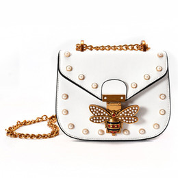 Wholesale Leather Shoulder Bag Buckles - leather saddle bag bee buckle shoulder bags for women pearl rivet crossbody bag gold chain messenger bags designer handbags brand purse