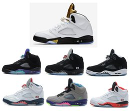 Wholesale Boxing Medal - New air retro 5 mens basketball shoes Olympic DS Gold Medal OG Black White Space Jam sneaker sport shoes discount shoes EUR 41-47