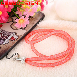 Wholesale Lanyard Lace - Universal long section hanging lace rhinestone lanyard for neck Rotatable Neck Strap princess lanyard clasp ID Badge Holder for Mobile phone