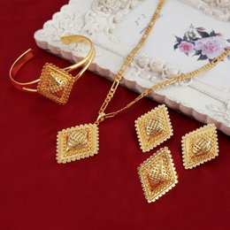 Wholesale Rhombus Earrings - New Senior Arrival Ethiopian Rhombus Bridal Wedding Women Jewelry Set Noble 18k Real solid Yellow gold GF pendant bangle ring earrings