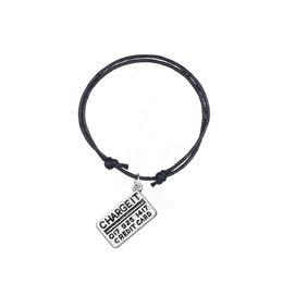 Wholesale invisible cards - New Fashion Bracelet Handmade Jewelry Credit Card Bracelet Colorful Korean Adjustable Wax Cord Bracelet