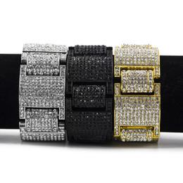 2019 elos em forma de diamante para corrente Homens Mulheres Hip hop Ampla I Forma Quadrada Strass Pulseira Pulseira Bling Imitação de diamantes Correntes Ligação Pulseiras Jóias Finas elos em forma de diamante para corrente barato