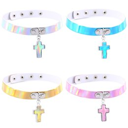 Wholesale Leather Slave Collar Chain - Laser Rainbow Leather Choker Necklace Collars with Jesus Cross Pendant Women Fashion Slave Jewelry Gift 162210