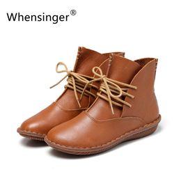 Wholesale Scarpe Fashion Women - Wholesale-Whensinger 2016 Full Grain Leather Fashion Boots Women Shoes Botas Feminina Botines Mujer Scarpe Donna Lace Up Handsewn 506