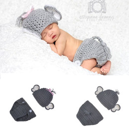 Wholesale Elephant Crochet - Baby Photo Props Doll Accessories Baby Hat Elephant Shape Photography Props Cute Newborn Boy and Girl Crochet Outfit Infant BP080