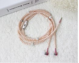 Wholesale Headphone Beads - Phone Mp3 Headphone In Ear Diamond Pearl beads couple necklace Earphones With Mic Fashional gift Girls earbuds headset