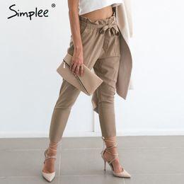 Wholesale Cargo Pants Style Women - Apparel OL chiffon high waist harem pants Women stringyselvedge summer style casual pants female 2016 New black trousers