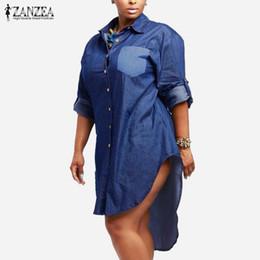 Al por mayor-Vestido de gran tamaño 2017 Primavera Otoño ZANZEA Mujeres Denim Vintage solapa manga larga dobladillo irregular Jeans largos camisa de la blusa más el tamaño desde fabricantes