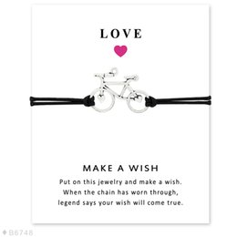 Wholesale Bicycle Jewelry Women - Wish Bracelet With Gift Card Antique Silver Bicycle Charm Bracelets & Bangles for Women Girls Adjustable Friendship Statement Jewelry