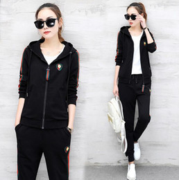 Wholesale white hoodies for ladies - 3pcs clothing set tracksuits for women new brand plus size women t shirts hoodies and pants fashion ladies sport tracksuits free shipping
