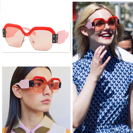 Wholesale Red Ornamental - Hot selling fashion style fashion avant-garde designer sunglasses women favorite eyewear trend color splicing semi-frame glasses top quality