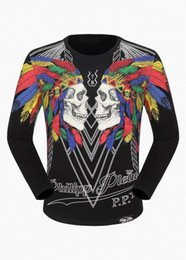 Wholesale Long Fit Sleeve T Shirt - SS17 New Tide Brand Cotton Long sleeves Fit Slim Casual Tee Print 3D Print Skulls desinger MENS T-shirts Cotton Top quality P18114 M-3XL