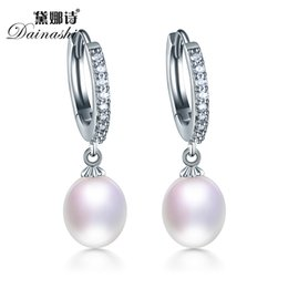 Wholesale Real Hoop Earrings - Wholesale- Top Quality Real Natural Freshwater 3 Color Water Drop Hoop Pearl Earrings For Women