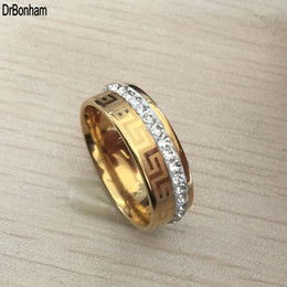 Wholesale 18k Wedding Yellow Diamond Ring - 2017 new Luxury high quality wide 8mm 316 Titanium Steel yellow gold filled greek key wedding band cz diamond Anniversary ring men women