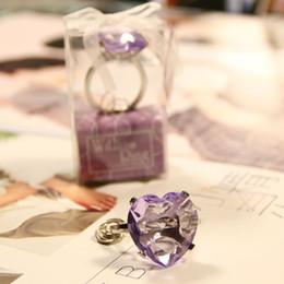 2019 porte-clés coeur rose Coeur romantique en forme d'anneau diamant rose Keychain porte-clés faveur de fête de mariage et cadeau présent pour invité ZA4438
