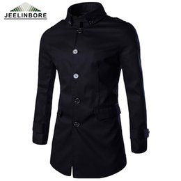 Wholesale Trenchcoat Style - Wholesale- 2016 Winter New Men Medium Long Trenchcoat Single Breasted Trench Coat British Style Solid Color Casual Coat Plus Size M-3XL