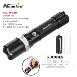 Wholesale q8 battery - AloneFire TK107 Tactical Baseball Bat Zoom LED CREE XML T6 Flashlight Self defense Torch 5 Mode Use 18650 Rechargeable Battery OR AAA