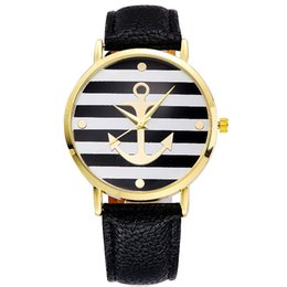 Wholesale Student Dresses - GENEVA fashion Striped anchor watches Men women leather quartz watch Students casual gift ladies dress wristwatches